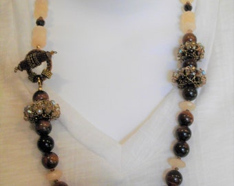 Tiger and Jade Necklace with Beaded Beads