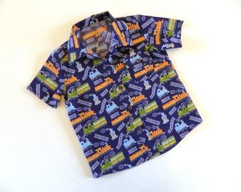 Boys Train Shirt Navy Toddler Baby VARIOUS SIZES
