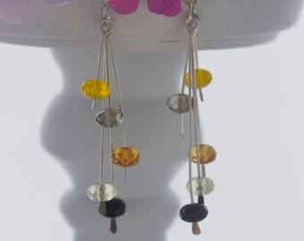 Silver drop earrings; Black gold and yellow earrings; Glass bead earrings