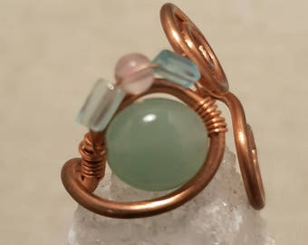 Copper and Gemstone ring; Blue topaz ring; Green aventurine ring; Copper wire ring; Wire wrapped ring;