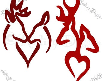 Buck and Doe Heart SVG