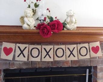Love Banner Decor, Red Heart Banner, Burlap Valentines Day Decor, Valentines Day Banner, Red Heart Burlap Banner, XO Banner,BSC-091