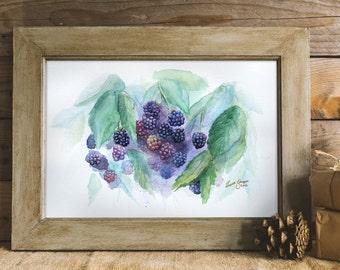 Watercolour Blackberries Galore, original art, wall art, cute, summer, kitchen art, bedroom art, Christmas gift, not art print, painting