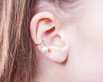 Ear Cuff in Silver 925 with Pearl pendant