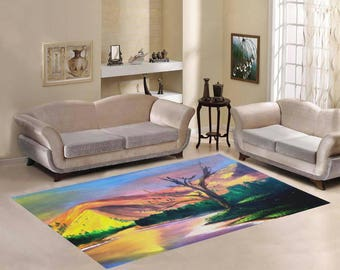 Area Rug 7'×5' +3 other sizes -Sun Rock Lake- FREE shipping