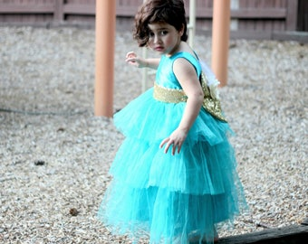 Tiffany Blue Flower Girl Couture Dress