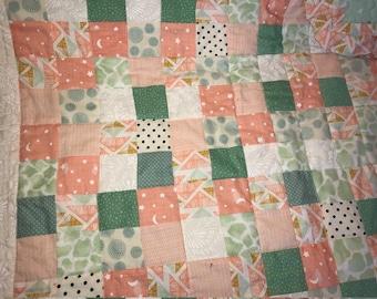 Beautiful Handmade ruffled baby quilt