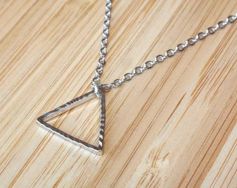 "Silver Triangle Necklace - Silver Necklace 45cm (17.5"") - Geometric Necklace - Geometric Jewelry - Dainty Necklace - Delicate Necklace"