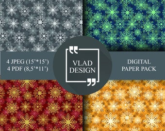 4 Colors Snowflakes Christmas paper pack Winter patterns Christmas patterns New year patterns Ready to print Digital paper pack
