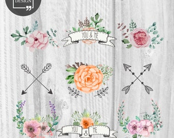 13 Watercolor Floral Wedding Elements Wedding Clipart Love Clipart Digital Watercolor Elements Cute Watercolor graphics Valentine's clipart