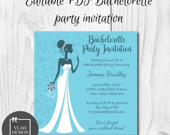 Romantic Blue Bachelorette Invitation Editable PDF Bachelorette invite Printable invitation template Bachelorette Party Custom Itinerary