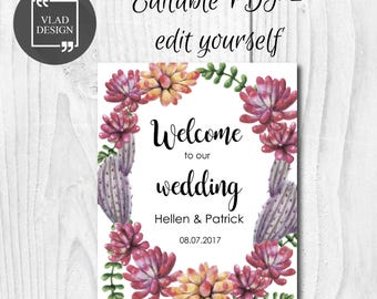Editable wedding welcome sign Succulents wedding sign Welcome wedding printable Wedding succulents Wedding poster board DIY Template