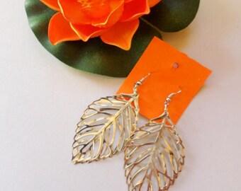 leaves earrings silver filigree long bijoux
