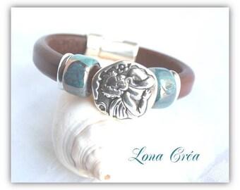 "Brown Leather Bracelet Regaliz ""Angel"", Brown dark blue ceramic bead Angel jewelry Angel, angel jewelry"