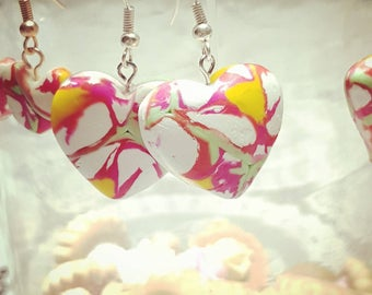 Heart earring green, white, yellow and rose