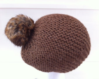Faux fur hat in light brown Alpaca with tassel