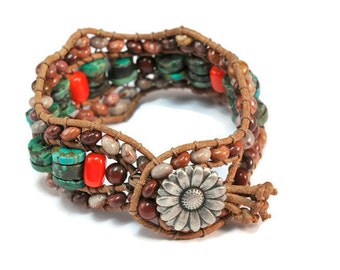 Narcisse *  3 strand Wrap Bracelet. Boho Style. Bohemian Jewelry. Semiprecious stones. Gift for her. Cuff Bracelet.