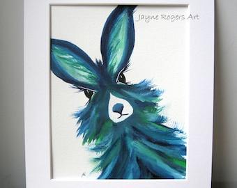 ORIGINAL PAINTING - Hare Wall Art Work - Hare Painting, Animal Painting, Animal Art, Rabbit Painting, Signed Painting, Hare Gift, uk
