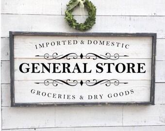 General store sign, kitchen decor, vintage wood sign