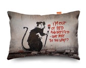 Banksy Bed Rat Sofa Cushion 3 Sizes...
