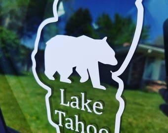Lake Tahoe Outline Bear Decal/Car Sticker