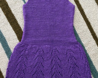 A purple, knitted hand color dress