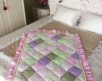 Baby Clothing Blanket Tenderness; Handmade Quilt; Patchwork Quilt