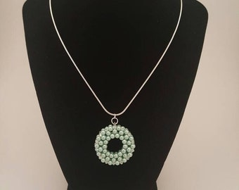 Mint pearl and swarovski crystal donut necklace