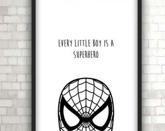Spiderman Superhero Large Vector , Baby Gift, Home Decor, Black and White Art
