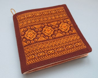 Embroidered Needle Book brown and yellow