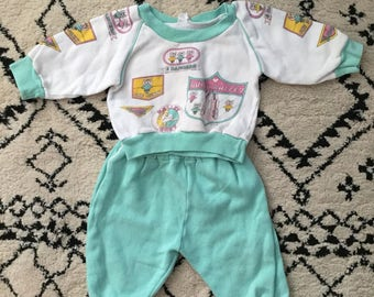 Vintage baby outfit, vintage baby set, 80s baby clothes, 80s baby girl clothes, 80s clothing set, 80s baby, 9-12 months, vintage clothing