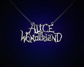 Alice in wonderland title, alice in wonderland jewelry, alice in wonderland pendant, alice, wonderland, movies, silver alice, legend,fantasy
