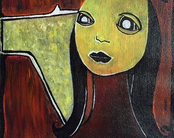 cuadro acrilico sobre lienzo original pintado a mano, pintura dibujo lienzo  art brut retrato cara abstracto /