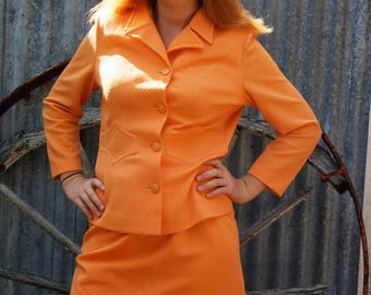 60's ribbed crimpelene orange 2-piece suit.