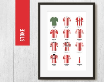PERSONALISED Stoke Team Print, Football Poster, Football Gift, FREE UK Delivery