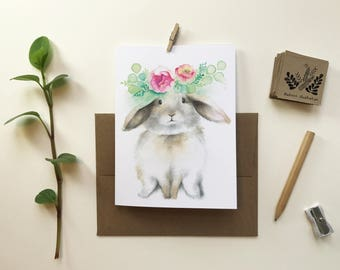 Aries rabbit gift card / greeting card / card without text / Portrait rabbit / new birth / Katrinn illustration