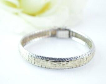 Two-Tone Diamond Cut Omega Chain Bracelet Sterling Silver 17.2g