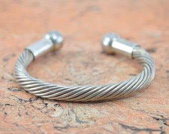 Chunky Twisted Rope Cuff Bracelet Sterling Silver 36.3g