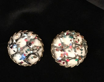 Vintage Sarah Cov, confetti clip on earrings