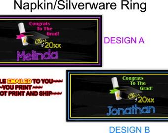 Graduation, Napkin Ring Label, Graduation Party, Grad Party, Silverware Label, Tableware Graduation - NAPKIN5