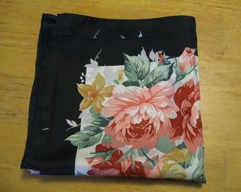 Vintage Silk Scarf  ship free pink Roses