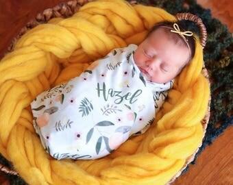 Personalized Swaddle Blanket - Orange Blossom – Personalized Swaddle Blanket / Baby Name Blanket