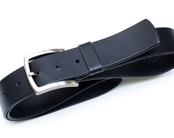 Leather Belt - Black - 4 cm - length 92cm