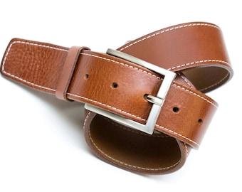 Leather belt - color Cognac - 4 cm - length 90