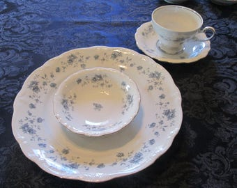 Johann Haviland, Bavaria, Germany.  Blue Garland Pompadour, Platinum trim Dinnerware