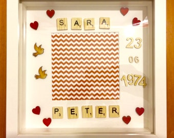 Personalised Valentines, Anniversary, lovers box frame gift
