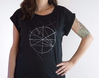 screen printed graphic tee -  black printed tshirt - geometry shirt - rolled sleeve tee - indie t shirt - S M L