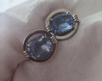 Beautiful Sterling Silver Vintage Men's Cufflinks, Faceted Topaz