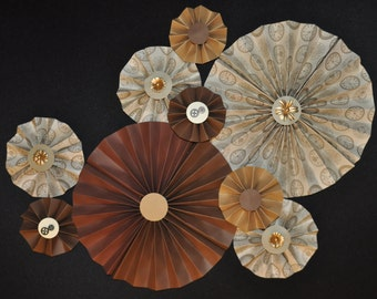 Steampunk Clockwork and Flowers Rosettes | Steampunk Paper Fans | Steampunk Pinwheels