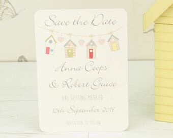 Personalised Beach Hut Wedding Save the Date Card